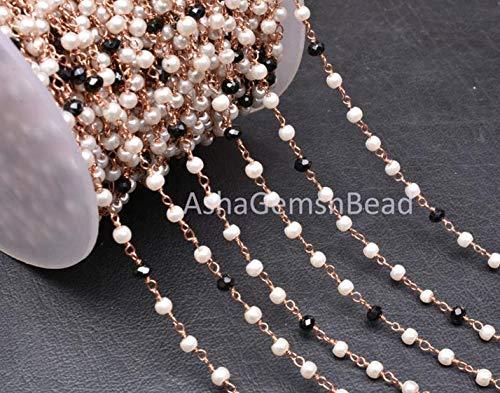 Shree_Narayani Cadena de 10 pies, cadena de rosario de perlas de ónix negro, rollo de alambre chapado en cobre, cadena de rosario con cuentas Rondelle, cuentas de oro rosa