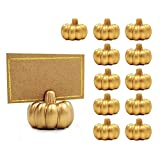 Kate Aspen Place Card Holders (Place Cards Included) - Set of 12 - Table Number Holder for Weddings, Gold Pumpkin Photo Holder for Table Assignments at Bridal Showers or Anniversaries