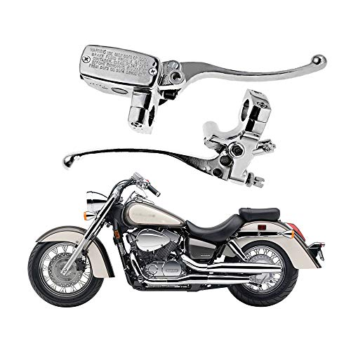 "1"" Handlebar 14mm Bore Motorcycle Left Clutch Lever & Right Hydraulic Brake Master Cylinder Lever Compatible with Honda, Kawasaki, Suzuki, Yamaha Chrome"