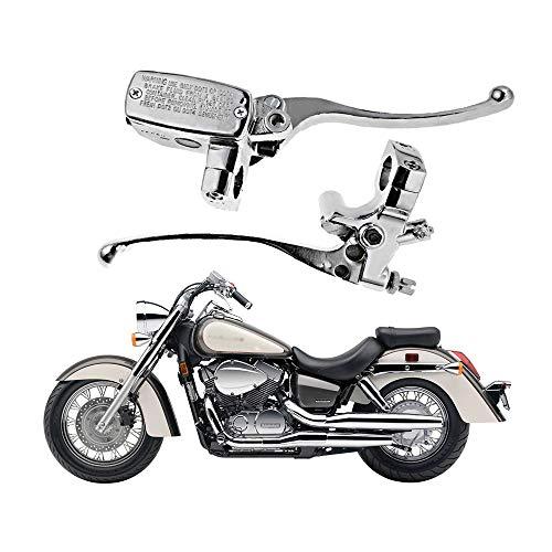 1 Handlebar 14mm Bore Motorcycle Left Clutch Lever & Right Hydraulic Brake Master Cylinder Lever Compatible with Honda, Kawasaki, Suzuki, Yamaha Chrome