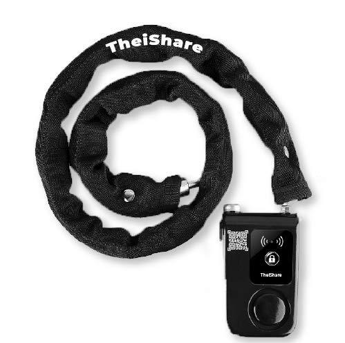 TheiShare Smart Lock – Keyless Bike Chain Lock– Smart Lock for Bicycle, Motorcycle, Gate – Anti-Theft Bike Chain Lock with Loud Bike Alarm – Bluetooth Lock with App Control