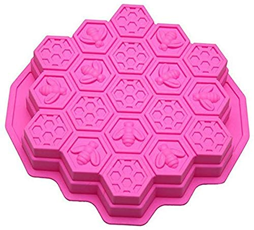 MEETOZ Cake Mold Honeycomb Mould Bee Soap Molds Silicone Molds Flexible Candy Chocolate 19 Cavities Dessert Baking (Pink)