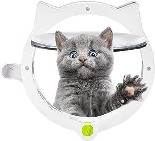 Achort ペットドア 4way切替 犬猫出入り口 キャットドア猫扉 取り付け簡単 磁石設計 かわいい猫頭デザイン 白い 冷暖房対策 勝手口 ドア 日本語取り付け書付
