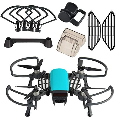 KUUQA 5 Pcs Accessories Kits Compatible with Spark, Including 2 in 1 Propeller Guard with Foldable Landing Gear, Gimbal Camera Guard, Lens Hood, Finger Guard Board, Joystick Protector