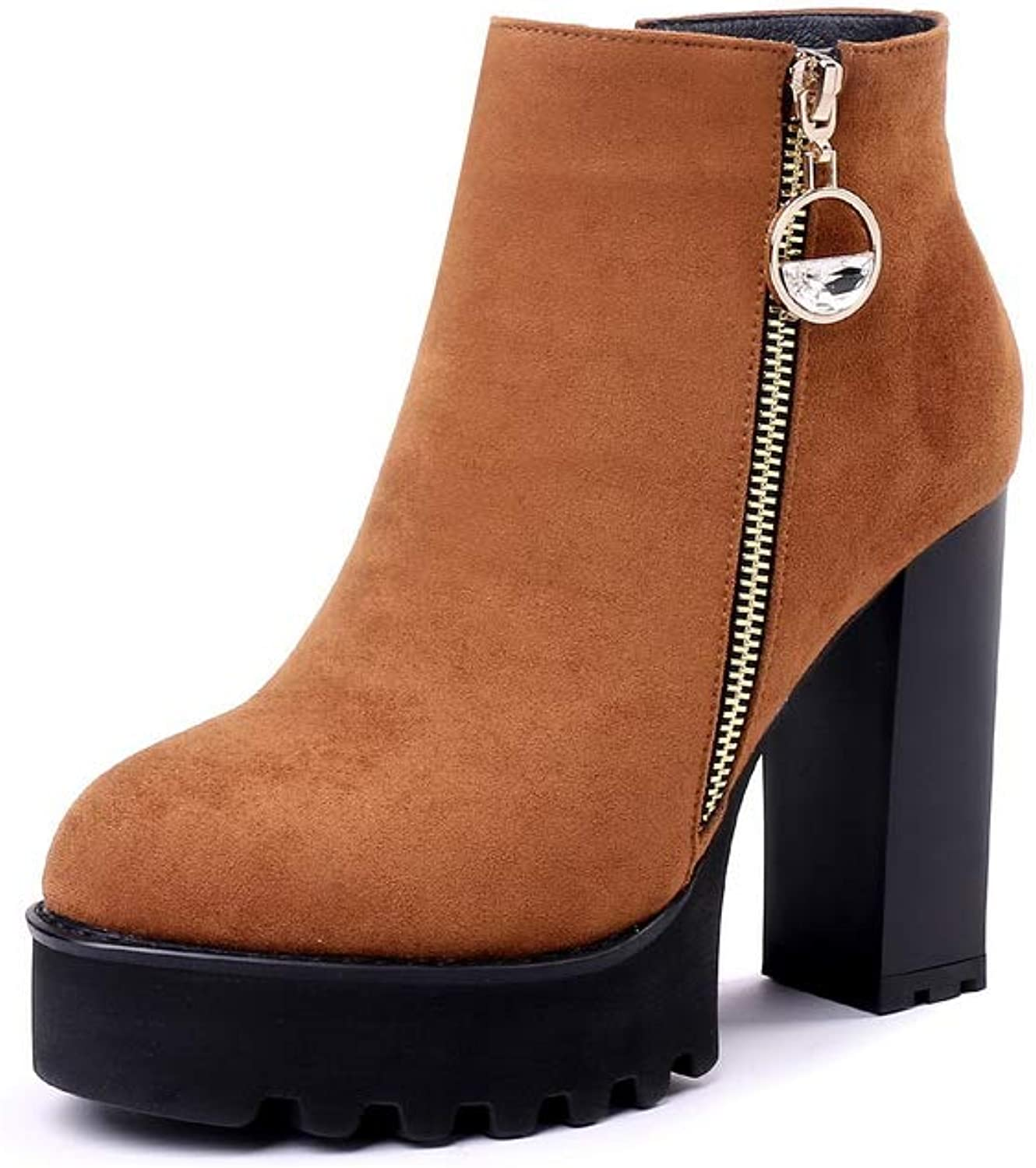 AN Womens Square Heels Chunky Heels Platform Imitated Suede Boots DKU02672