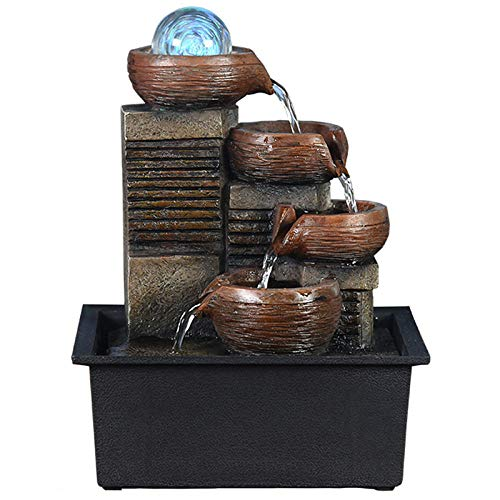Ghongrm Fuentes de Interior de Agua e Iluminación LEDFuente de Relax para La Decoración de La Mesa de La Oficina en Casa 21x15.5x28cm