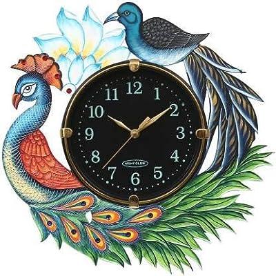 Akshat Enterprise Multicolor Peacock Design Colorful Wooden Wall Clock for Home/Kitchen/Living Room/Bedroom/Office{Black Dail}