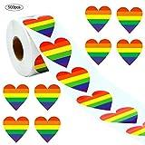 Eventualx Etiketten Geschenk Rainbow Aufkleber 6 Farben Striped Heart-Shaped Tape Ribbon Aufkleber...