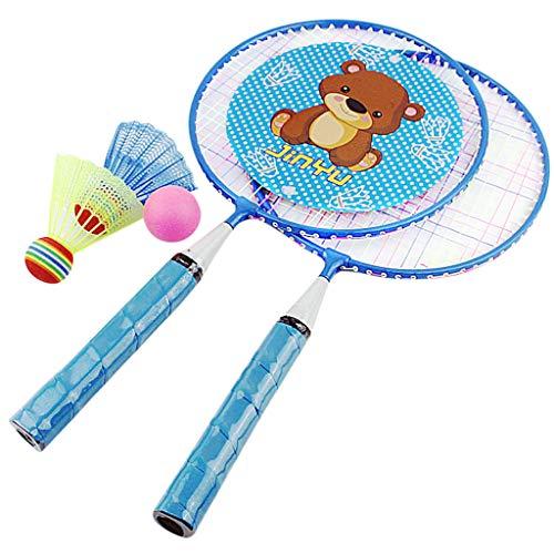 Badminton Set for Kids, Children's Badminton Racket Set Sports Round Racket Cartoon Badminton Racket Set Kids Training Practice Portable Shuttlecock Badminton Racquet Badminton Accessory (Blue)
