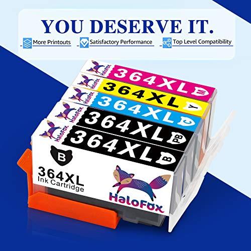HaloFox Cartuchos de Tinta Compatible para HP 364XL para HP DeskJet 3520 3070A OfficeJet 4620 Photosmart 5510 5514 5515 5520 5524 5525 6510 6520 7510 7520