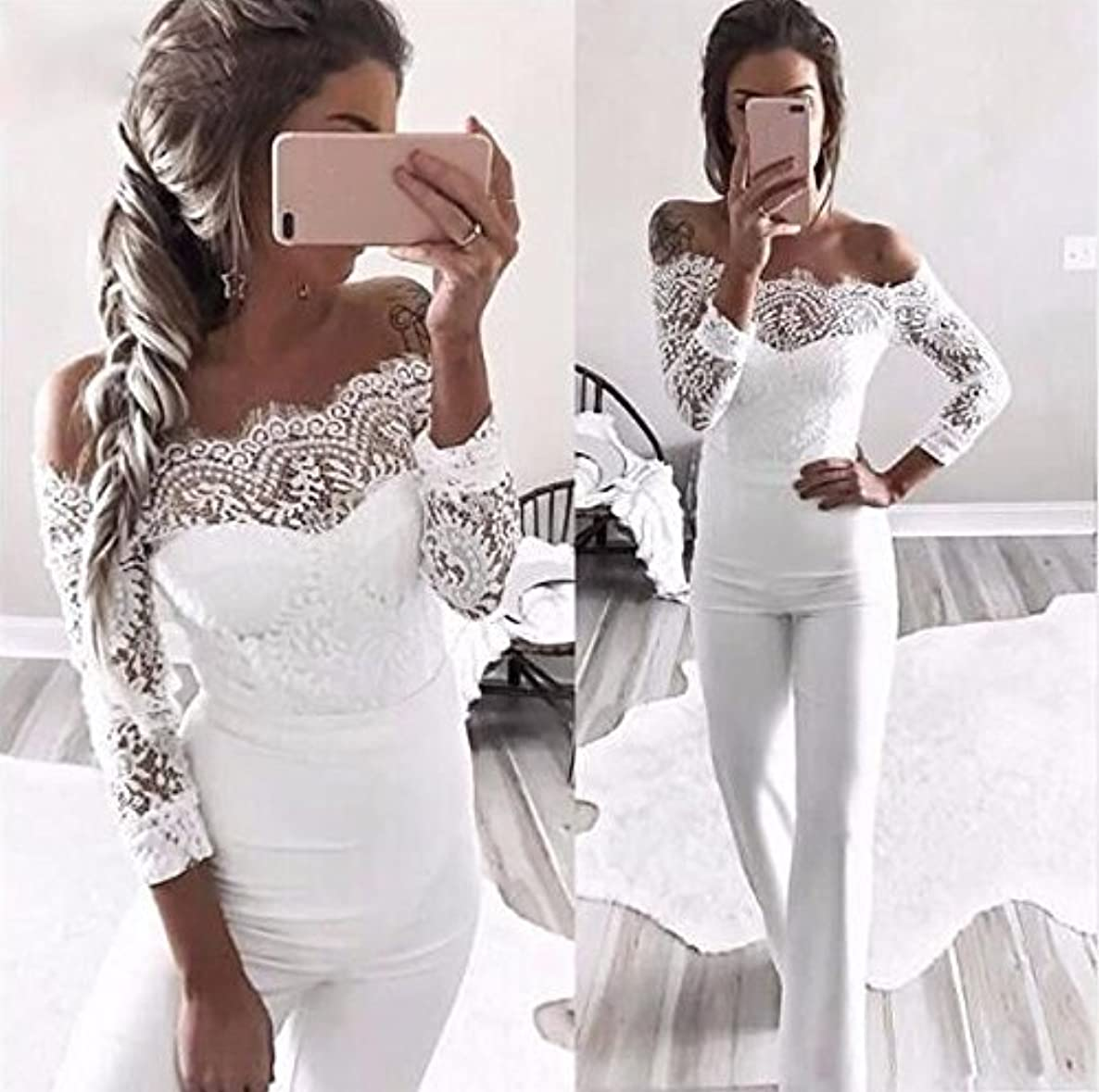 Women Jumpsuit Daoroka Sexy Lace Off Shoulder Long Sleeve Party Rompers Long Pants Casual Playsuit (XL, White)