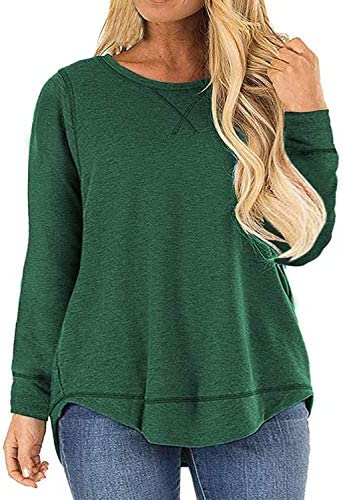 Womens Plus Size Tops Long Sleeve Casual Loose Crewneck Side Split Shirts Blouses Green 24W product image