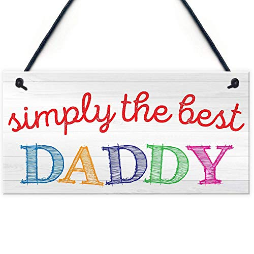 Aianhe Simply The Best Daddy Wood Signs Dad Birthday Gifts Father's Day Hanging Plaque 10' X 5'