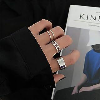 Aimier القوطية المفاصل الدائري مجموعة 3 قطع نصف مفتوحة الإصبع خاتم الفضة الشرير خواتم تكديس للنساء أو الرجال