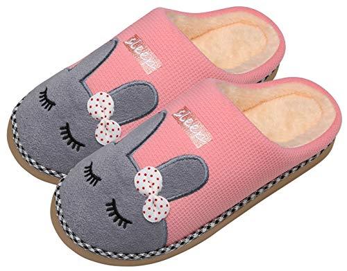Mishansha Invierno Zapatillas Interior Casa Caliente Felpa Pantuflas Mujer Antideslizante Dibujos Animados Pareja Zapatos, Conejo-Rosa, 35/36 EU=36/37 CN