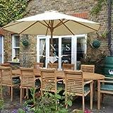 Luxus Home And Garden - Juego de muebles de jardín (200-300 cm, mesa extensible (10 sillas apilables)