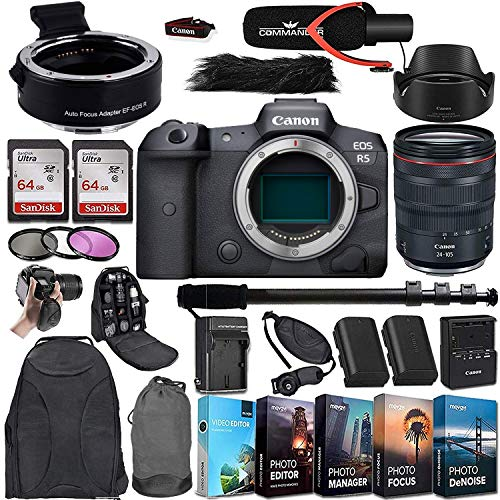 Canon EOS R5 Mirrorless Digital Camera with RF 24-105mm f/4L is USM Lens and Mount Adapter EF-EOS R Bundle + Deluxe Accessories Kit