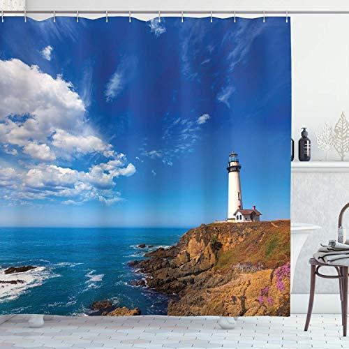 N \ A Lighthouse Duschvorhang, Kalifornienstadt, Tauben-Punkt, Leuchtturm in Cabrillo Küstenbild, bedruckter Stoff, Badezimmer-Dekor-Set mit Haken, 183 cm lang, Weiß / Braun