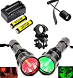 BESTSUN Green and Red Light Flashlights, Waterproof Predator Light HS-802 350 Yards Long Range Coyote Hog Varmint Hunting Sets with Remote Pressure Switch, Barrel Mount, Battery and Charger