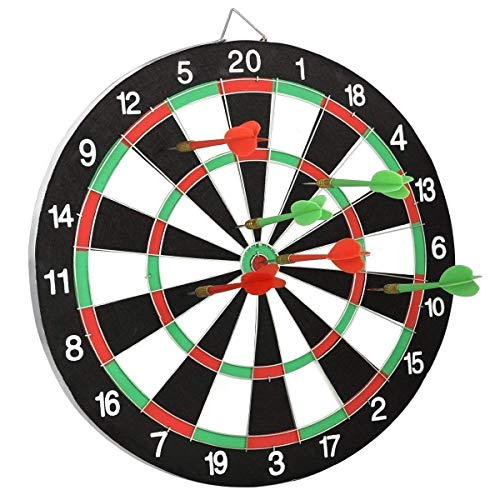 samplus mall (label) double faced flock printing bristle thickening dart board family game set with 4 steel tip needle for kids and adults , 15 inch- Black