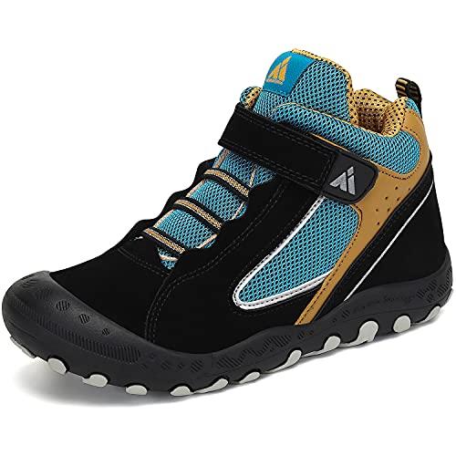 Mishansha Botas de Senderismo Niño Niña Zapatos de Trekking Antideslizante Ligero Zapatillas de Montaña Cómodos Exterior,Jade Negro,24 EU