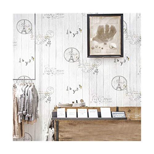 Multi-wallpaper vintage imitatie hout graffitiboard Coffee Shop kledingwinkel PVC-behang, wit