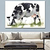 Abstract Cow Eating Grass Animals Oil Painting on Canvas Pop Art Wall Picture for Living Room Sofa Decor Frameless A 60x100cm