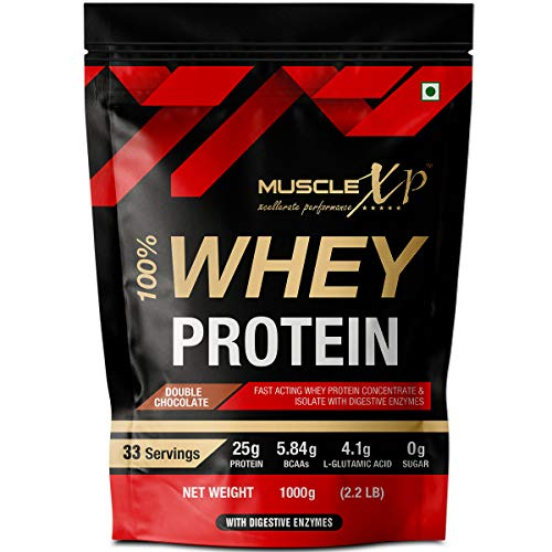 MuscleXP 100% Whey Protein With Digestive Enzyme - 1Kg Pouch, Double Chocolate