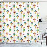 ABAKUHAUS EIS Duschvorhang, Triple Scoops Grungy, mit 12 Ringe Set Wasserdicht Stielvoll Modern Farbfest & Schimmel Resistent, 175x200 cm, Mehrfarbig