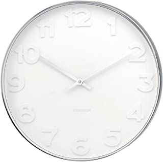 Present Time Karlsson Wall Clock Mr. White Numbers Steel Polished, 20-Inch
