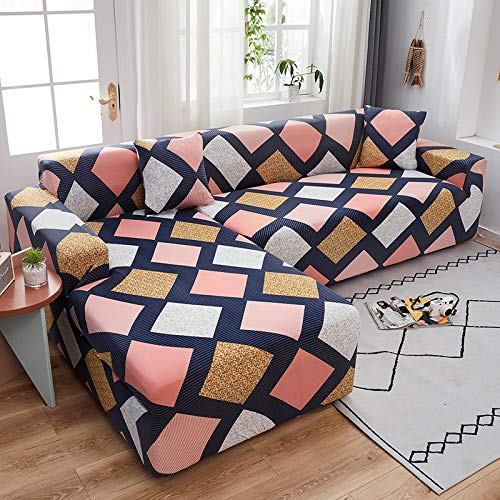 Modern Geometric Lattice L-Shaped Sofa Cover, All-Inclusive Elastic Sofa Towel For All Seasons, Non-Slip And Pet-Proof, Clean Sofa Chair Cover, Dining Room, Living Room, Study Room