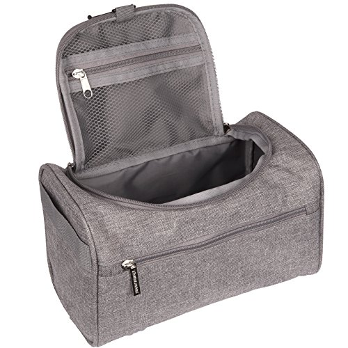TravelMore Hanging Travel Toiletry Bag Organizer & Medicine Bag - Bathroom Hygiene Dopp Kit with Hook for Traveling Accessories Toiletries Bathroom Shaving & Makeup for Men and Woman - Gray