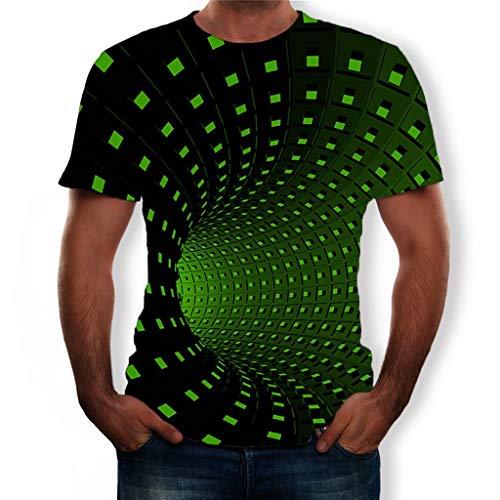 WINJIN Homme T-Shirt 3D Imprimé Haut Chemise À Manches Courtes Décontracté Tops Slim Fit Gilet Chemisier Chic Tee Shirt de Sport Collants Fitness Blouse Pas Cher Col Rond