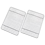 """Checkered Chef Cooling Rack - Set of 2 Stainless Steel, Oven Safe Grid Wire Racks for Cooking & Baking - 8"""" x 11 ¾"""