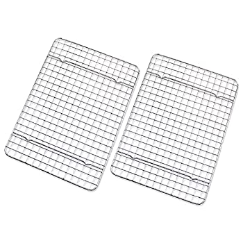 """Checkered Chef Cooling Rack - Set of 2 Stainless Steel Oven Safe Grid Wire Racks for Cooking & Baking - 8"""" x 11 ¾"""
