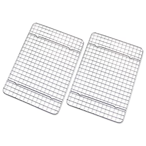 """Checkered Chef Cooling Rack - Set of 2 Stainless Steel, Oven Safe Grid Wire Racks for Cooking & Baking - 8"""" x 11 ¾'"""