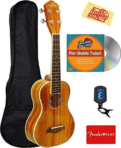 Oscar Schmidt OU2 Mahogany Concert Ukulele Bundle with Gig Bag, Tuner, Austin Bazaar Instructional DVD, and Polishing Cloth
