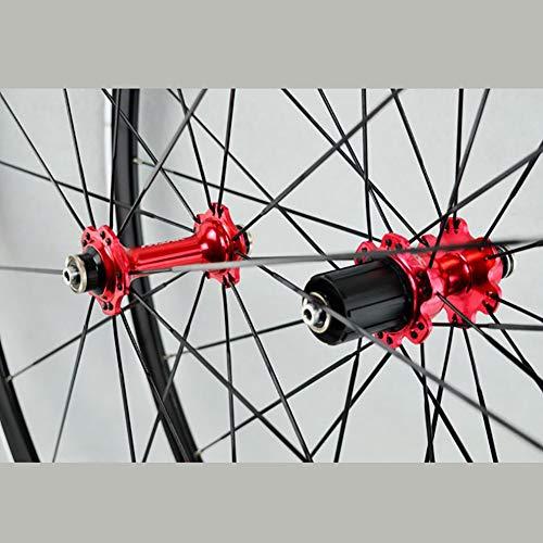 DL 700C Ruota in Lega Ruote da Strada per Bici da Corsa Altezza Cerchio 30MM Cuscinetto Super-funzionante,Red