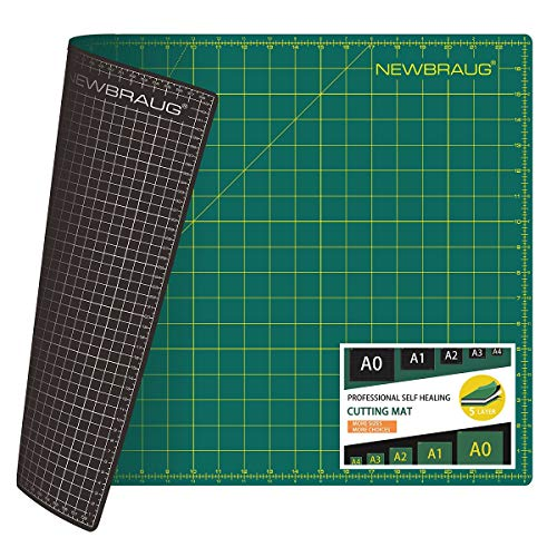 NEWBRAUG 18'' × 24'' Perfect Self Healing Cutting Mat, Non-Slip Gridded Rotary Cutting Board, Necessary for Quilting, Sewing, Craft, Fabric & Scrapbooking(Green/Black)