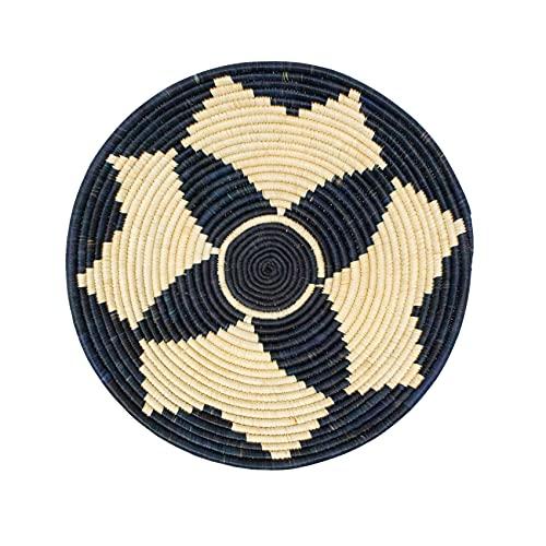 LaLe Living Cuenco decorativo de fibra de plátano, diámetro de 30 cm, color negro/natural con patrón étnico, también como decoración de pared, estilo bohemio