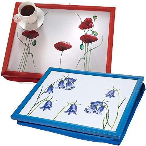2 Cushioned Lap Trays Bean Bag Cushion TV Dinner Floral Flower Poppy Bluebell Laptop Holder Rest
