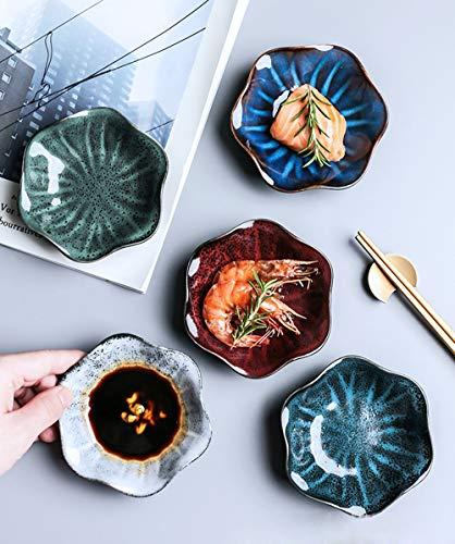 Porzellan Saucenschälchen, Sushi Sojasauce Dip Schälchen, 5 Stück Mini Soße Müslischalen Schüssel aus Keramik, Gewürzschale Geschirrset Tafelservice Steingut Dessertschale Eisschale für Küchenhaus