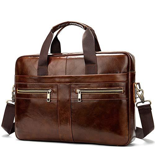 Ai-yixi Diseño clásico Maletín de negocios para hombre, bolso de mensajero de cuero real para ordenador portátil, maletín de piel para oficina, para hombres, perfecto salvaje (color: E, tamaño: XL)