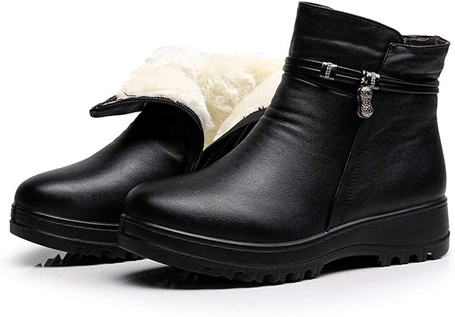 Fashion Winter Women's Warm Ankle Snow Boots Genuine Leather Flat Casual Comfortable shoes Black 7 M US