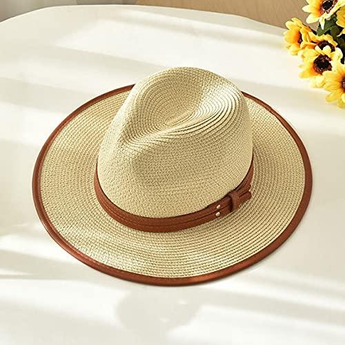 Nuevo Sombrero de Playa de Verano para Mujer, Sombrero Informal de Lado Ancho para Mujer, Sombrero de Paja con Lazo Plano clásico para Mujer, Fedora-beige-56-58cm