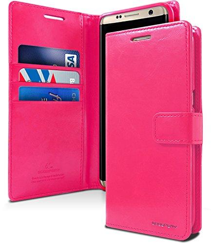 Galaxy S8+ [Plus] Hülle, [Fallschutz] Goospery Blue Moon Diary [Brieftaschen-Hülle] PU-Leder [stoßfest] TPU Hülle [ID Card und Holder] Flip Stand Cover für Samsung Galaxy S8 Plus, BLUE MOON Hot Pink