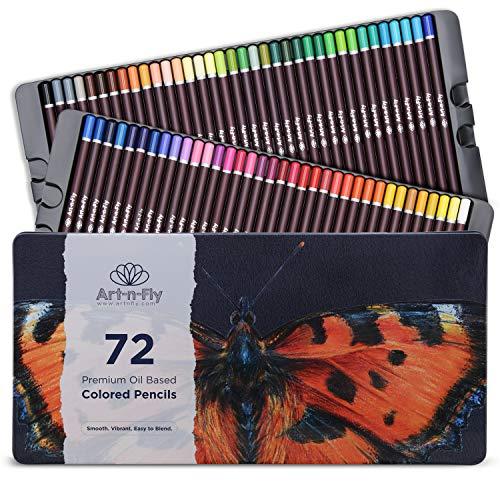 Art-n-Fly Buntstift-Set im Metallkasten - 72 Farbstifte auf Ölbasis