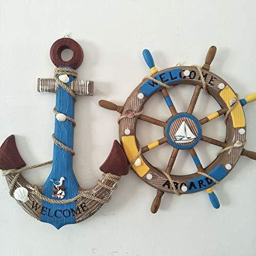 ZBHGF 2 Pack 45 CM Rueda de Barco de Madera y Ancla de Madera con Cuerda Barco náutico Dirección,45cm