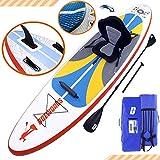 DURAERO Tabla Hinchable Paddle Surf Sup Paddel Surf Bomba, Asiento de Kayak, Almohadilla integrada, Aleta Desprendible, Doble Remo Ajustable, Kit de Reparación, 300 x 76 x 15 cm, hasta 110 kg