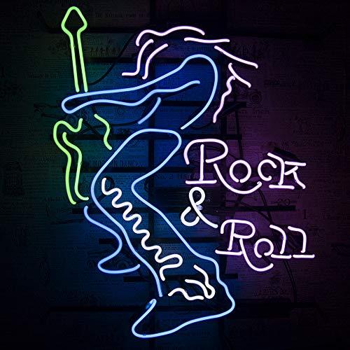 Neonreklame Neon Sign-Handgefertigt Echtglasröhre Nachtlicht Wandbehang Bier Bar Heim Zimmer Wohnzimmer Kunstwerk-Leuchtreklame Neonschilder Neonleuchte Neonwerbung (Rock and Roll 19